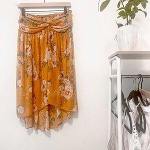 Free People Womens Yellow Ivory Floral Sleeveless Mini Tube Dress Size Small